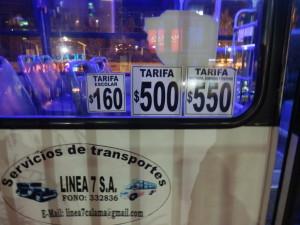 Přepravní ceny v MHD. Školní, normální, noční. Calama, Chile