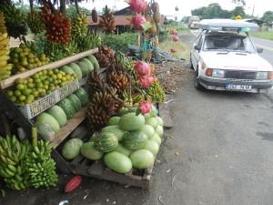 Cena za velký trs banánů je dolar, dva kusy na ochutnání jsou nepočitatelné a proto zadarmo