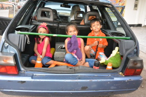 Dětský zádržný systém u vozu Škoda Forman v Kolumbii